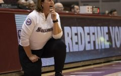 Coach Cindy Stein yells at her players on Friday, Jan. 4, 2019, after the Salukis 47-64 win against the Evansville Purple Aces at SIU Arena.