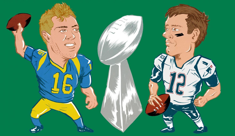 Tom Brady, New England Patriots quarterback and Jared Goff, Los Angeles Rams quarterback, for Super Bowl LIII.