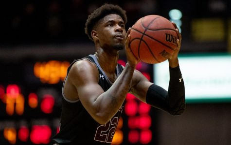Southern Illinois Saluki senior guard Armon Fletcher goes for a basket on Thursday, Jan. 30, 2019 during the Southern Illinois Salukis' 88-73 win over the Indiana State Sycamores at SIU Arena.