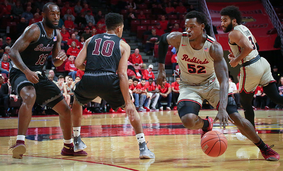 Illinois State forward Milik Yarbrough drives in the paint in Illinois State's 59-58 win over the Salukis on Tuesday, Jan. 15, 2019, at Redbird Arena in Normal, Illinois.