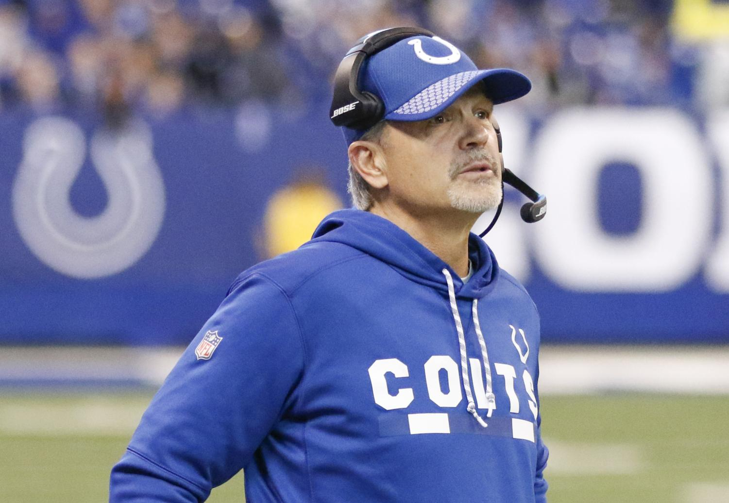 Indianapolis Colts head coach Chuck Pagano watches the end of a 22-13 win against the Houston Texans at Lucas Oil Stadium in Indianapolis on Sunday, Dec. 31, 2017.