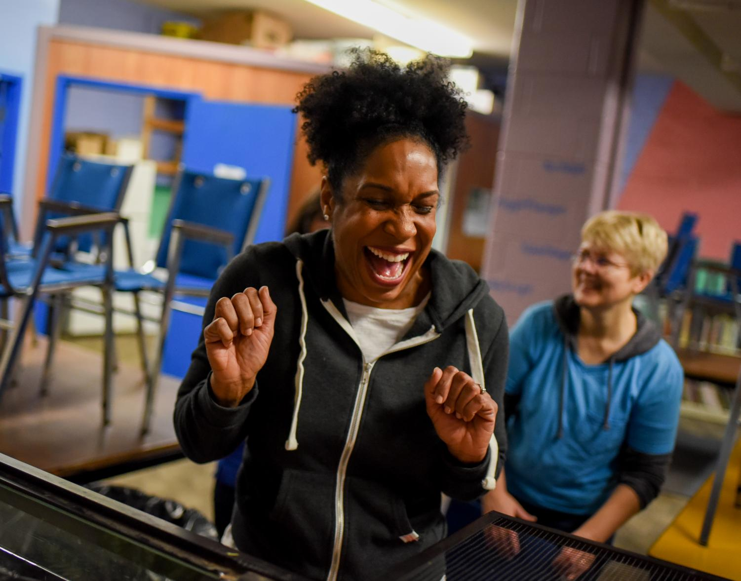 Juliana Stratton, Illinois Lt.Governor-elect, reacts after feeding a bearded dragon on Saturday, Jan. 12, 2019, during a community event at the Boys & Girls Club in Carbondale, Illinois. The event kicked off a statewide day of service held by Pritzker-Stratton Inaugural Committee.