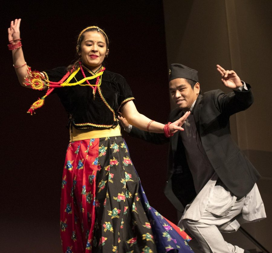 Nepalese+Student+Society+members+dance+on+Friday%2C+Feb.+8%2C+2019%2C+at+the+International+Festival+Culture+Show.+