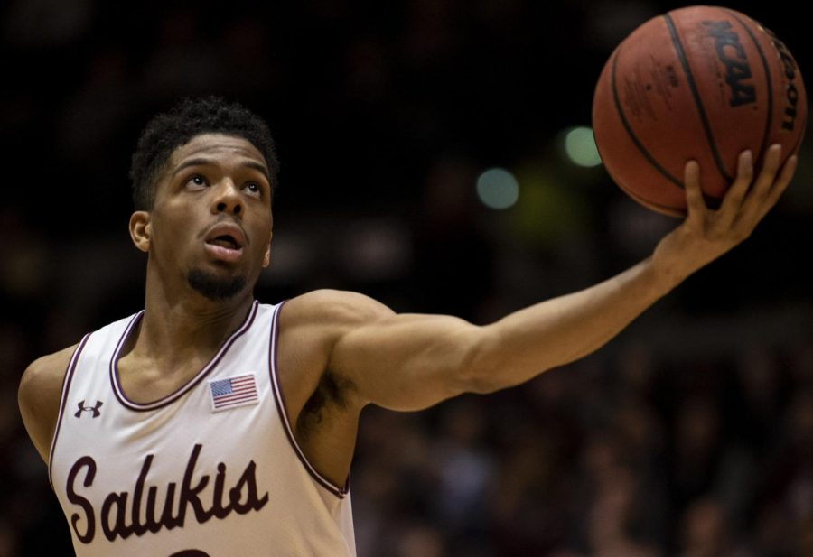 Saluki+junior+guard+Aaron+Cook+attempts+a+basket+on+Saturday%2C+Feb.+9%2C+2019%2C+during+the+Southern+Illinois+Salukis%27+matchup+against+the+Evansville+Purple+Aces+at+SIU+Arena.+