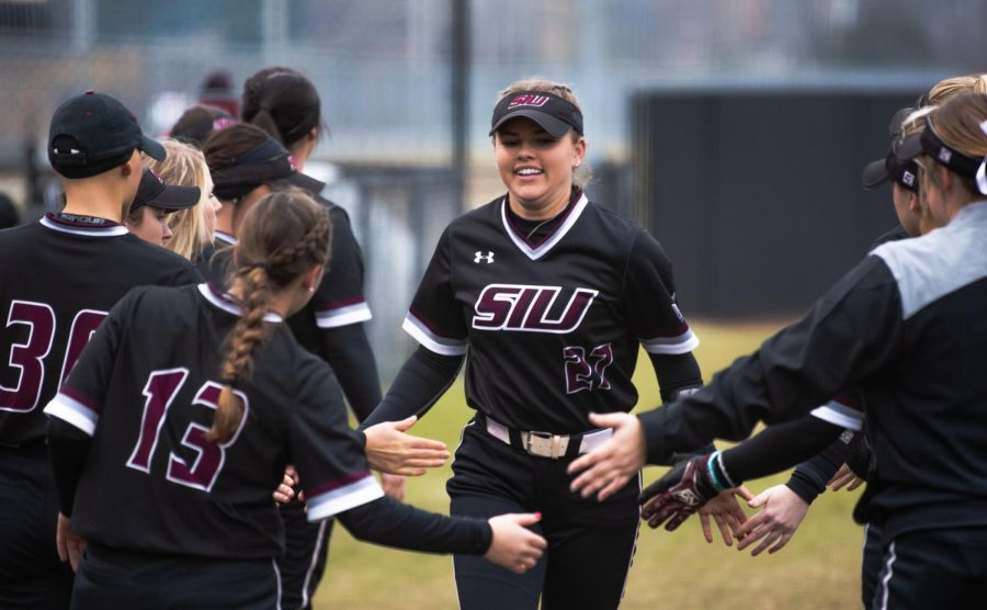 Saluki+senior+pitcher+Brianna+Jones+is+introduced+to+the+field+on+Friday%2C+Feb.+22%2C+2019+during+the+Salukis+1-0+win+against+the+Creighton+Jays+at+Charlotte+West+Stadium.
