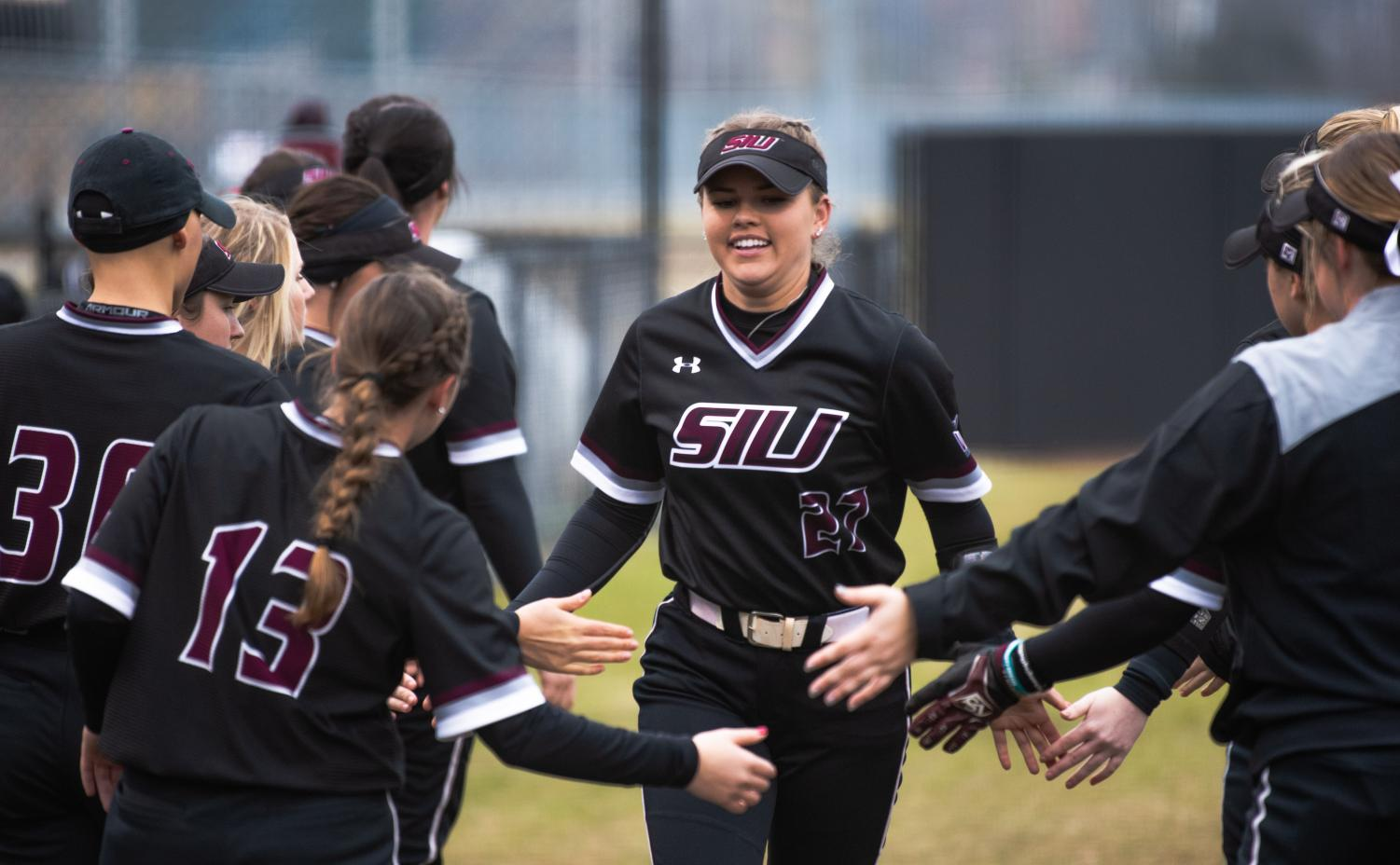 Saluki senior pitcher Brianna Jones is introduced to the field on Friday, Feb. 22, 2019 during the Salukis 1-0 win against the Creighton Jays at Charlotte West Stadium.