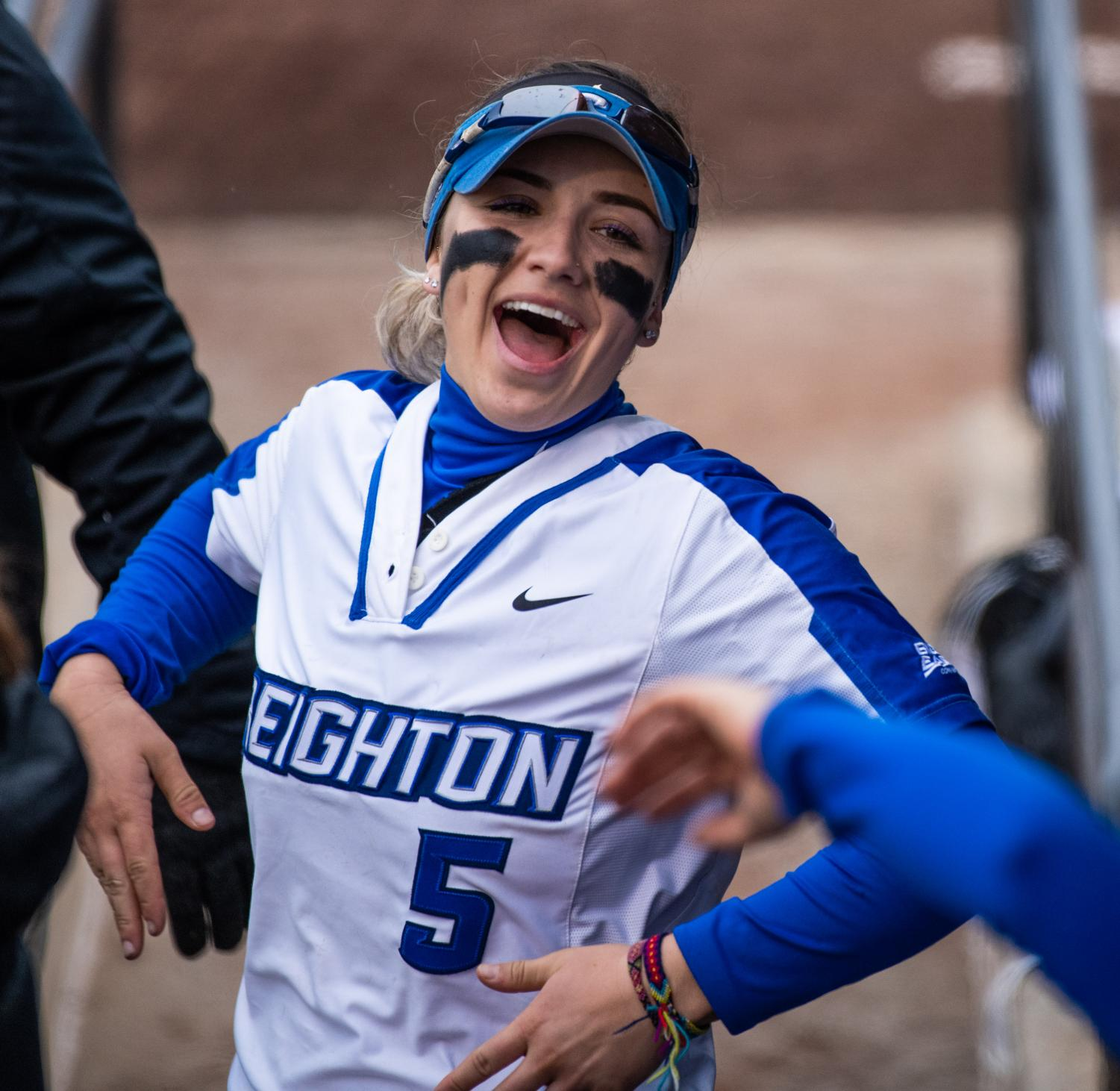 Jay+junior+Ashley+Cantu+celebrates+with+her+team+on+Friday%2C+Feb.+22%2C+2019+during+the+Salukis+1-0+win+against+the+Creighton+Jays+at+Charlotte+West+Stadium.