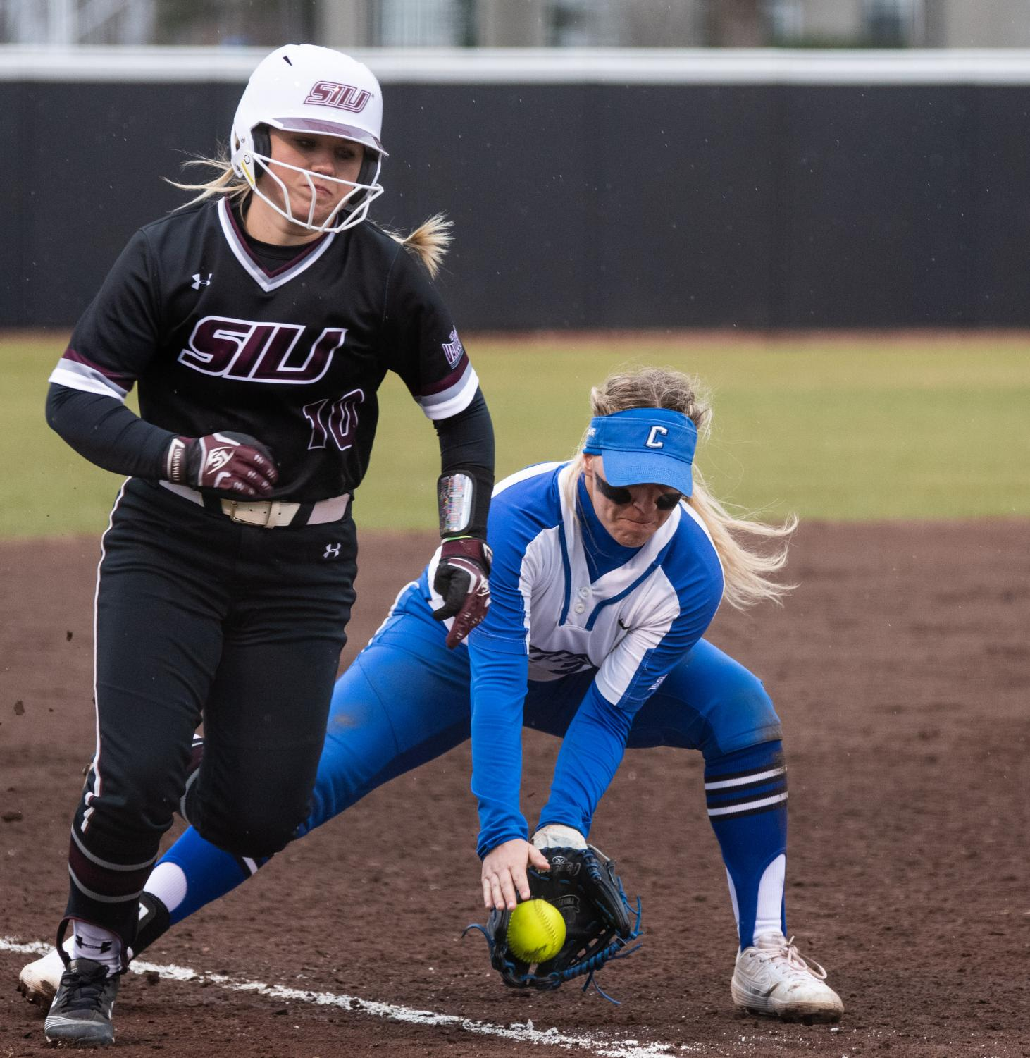 Saluki+sophomore+infielder+Meredith+Wernig+runs+home+on+Friday%2C+Feb.+22%2C+2019+during+the+Salukis+1-0+win+against+the+Creighton+Jays+at+Charlotte+West+Stadium.