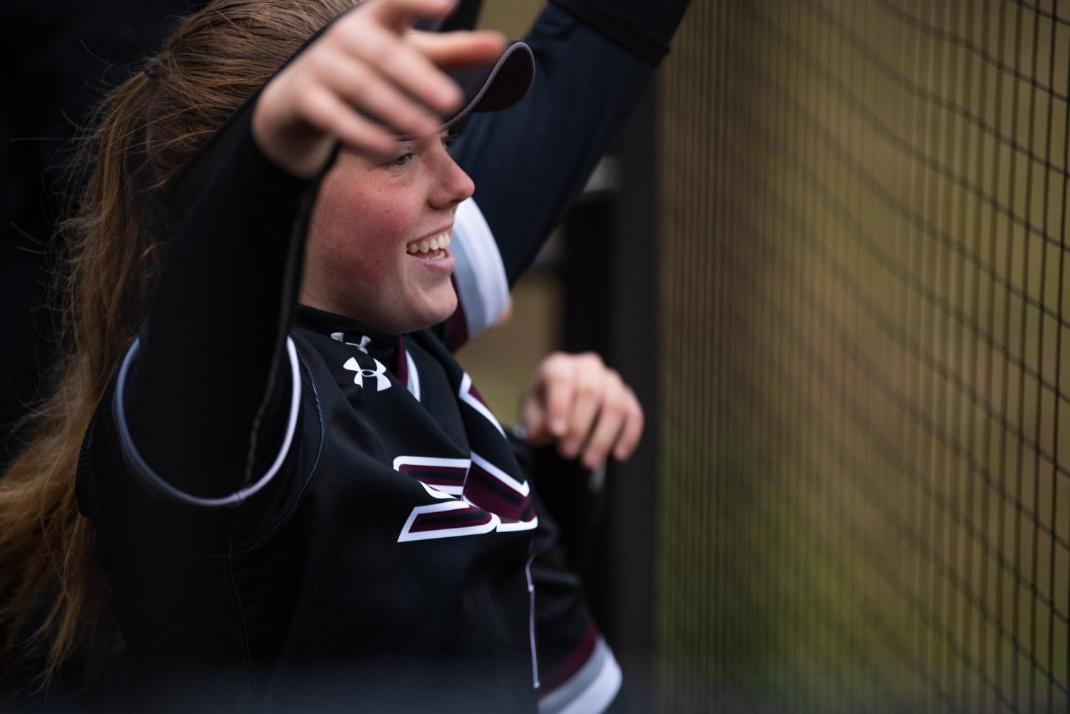 Saluki+freshman+infielder+Ashley+Wood+celebrates+in+the+dugout+on+Friday%2C+Feb.+22%2C+2019+during+the+Salukis+1-0+win+against+the+Creighton+Jays+at+Charlotte+West+Stadium.