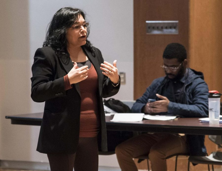 Guest speaker Cristina Catillo talks about the importance of the First Scholars Program on Tuesday, Feb. 19, 2019 during the Undergraduate Student Government meeting inside the Student Center.