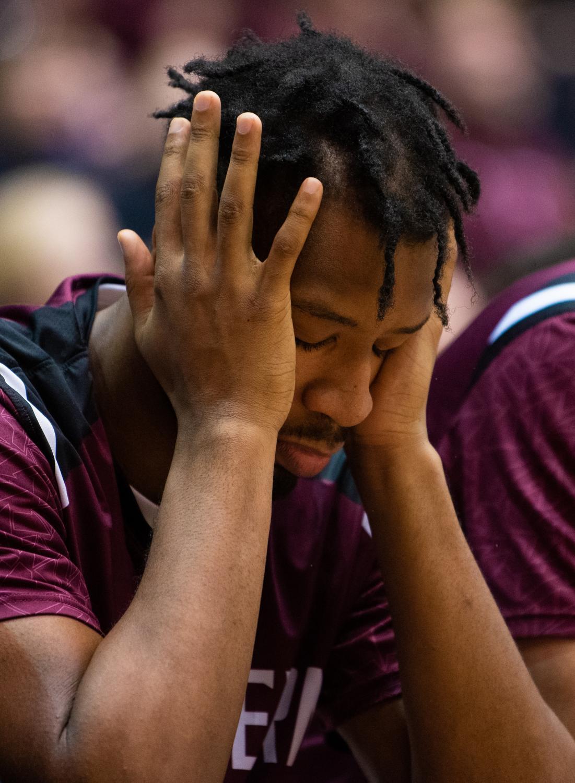 Saluki+Sophomore+forward+Brendon+Gooch+reacts+on+Tuesday%2C+Feb.+12%2C+2019+during+the+Saluki%27s+72-69+loss+against+the+Drake+Bulldogs+at+SIU+Arena.+
