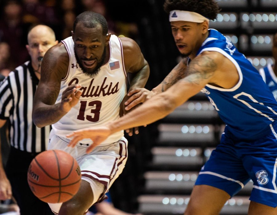 Saluki senior guard Sean Lloyd Jr.'s ball is stolen by the Bulldogs on Tuesday, Feb. 12, 2019 during the Saluki's 72-69 loss against the Drake Bulldogs at SIU Arena.