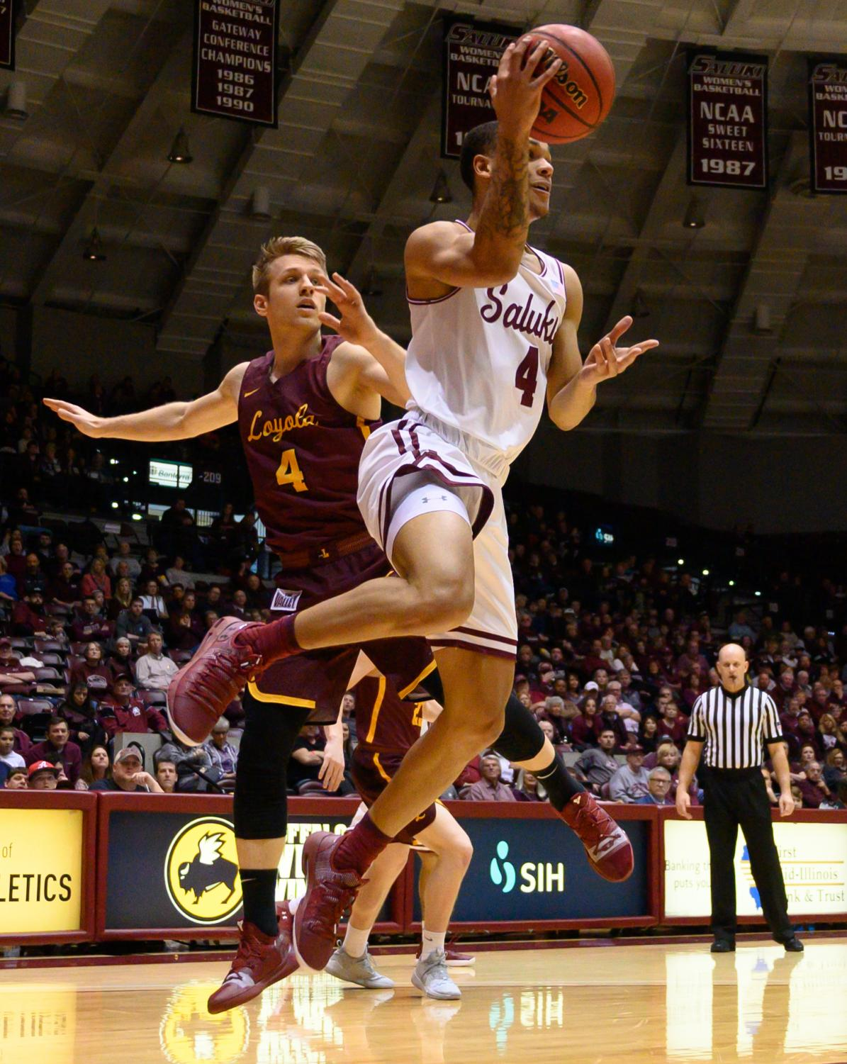 Southern+Illinois+Salukis+guard+Eric+McGill+catches+the+ball+on+Sunday%2C+Feb.+24%2C+2019%2C+during+a+matchup+between+the+Southern+Illinois+Salukis+and+the+Loyola+Ramblers+at+SIU+Arena.