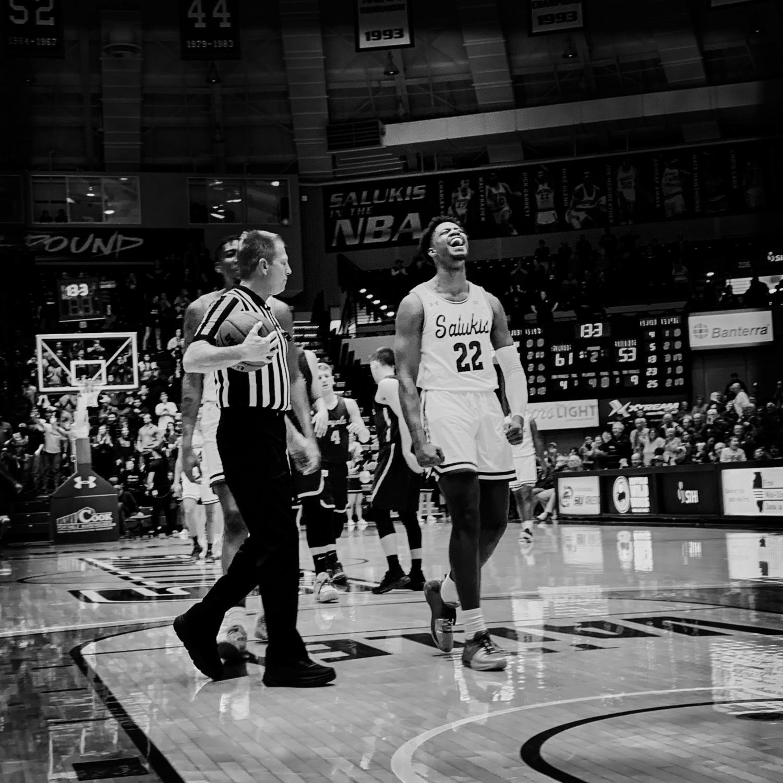 Southern+Illinois+Salukis+forward+Armon+Fletcher+celebrates+a+basket+on+Sunday%2C+Feb.+24%2C+2019%2C+during+a+matchup+between+the+Southern+Illinois+Salukis+and+the+Loyola+Ramblers+at+SIU+Arena.