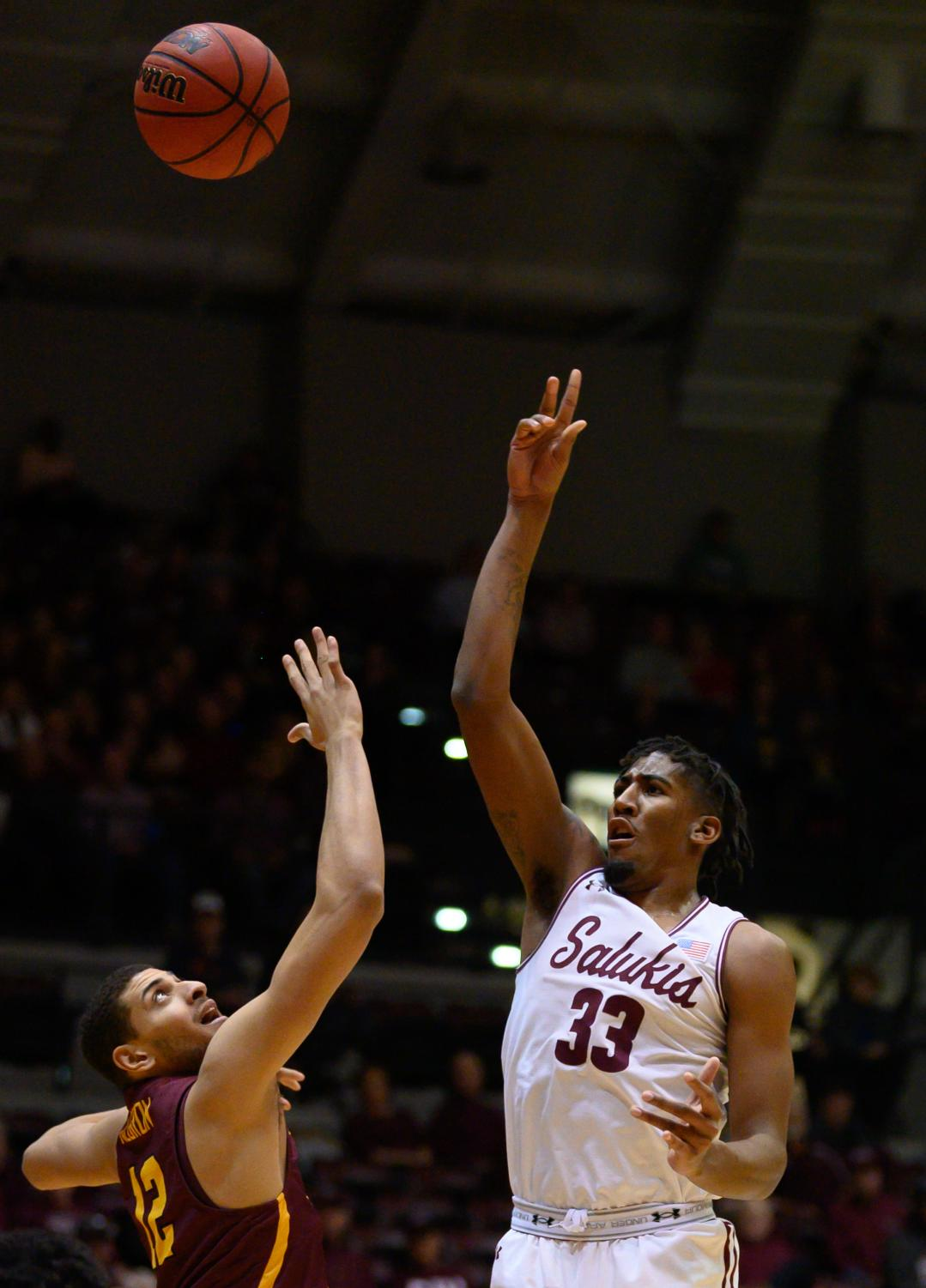 Southern+Illinois+Salukis+center+Kavion+Pippen+goes+for+a+basket+on+Sunday%2C+Feb.+24%2C+2019%2C+during+a+matchup+between+the+Southern+Illinois+Salukis+and+the+Loyola+Ramblers+at+SIU+Arena.