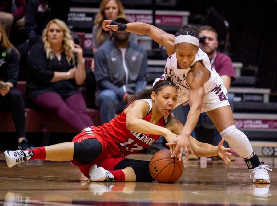 Southern+Illinois+Salukis+guard+Brittney+Patrick++and+Illinois+State+Redbirds+guard+Katrina+Beck+fight+for+a+loose+ball+on+Sunday%2C+Feb.+17%2C+2019%2C+during+the+first+half+of+the+Southern+Illinois+Salukis%27+matchup+against+the+Illinois+State+Redbirds+at+SIU+Arena.%0A