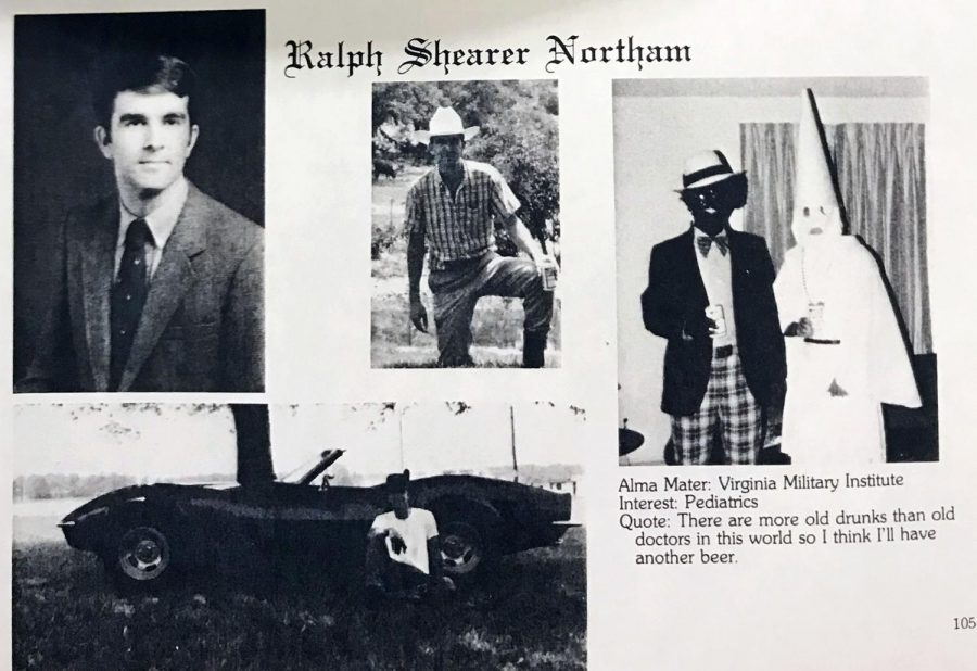 A+photo+from+Virginia+Gov.+Ralph+Northam%27s+medical+school+yearbook+shows+two+men%2C+one+in+blackface+and+one+in+a+Ku+Klux+Klan+robe+and+hood%2C+on+the+same+page+as+the+governor.+A+half-page+from+the+1984+Eastern+Virginia+Medical+School+yearbook%2C+photographed+by+The+Virginian-Pilot+on+February+1%2C+2019.