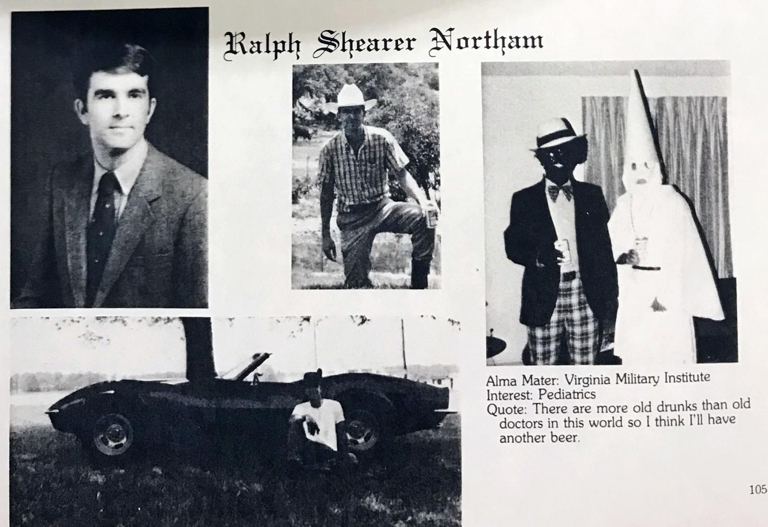 A photo from Virginia Gov. Ralph Northam's medical school yearbook shows two men, one in blackface and one in a Ku Klux Klan robe and hood, on the same page as the governor. A half-page from the 1984 Eastern Virginia Medical School yearbook, photographed by The Virginian-Pilot on February 1, 2019.