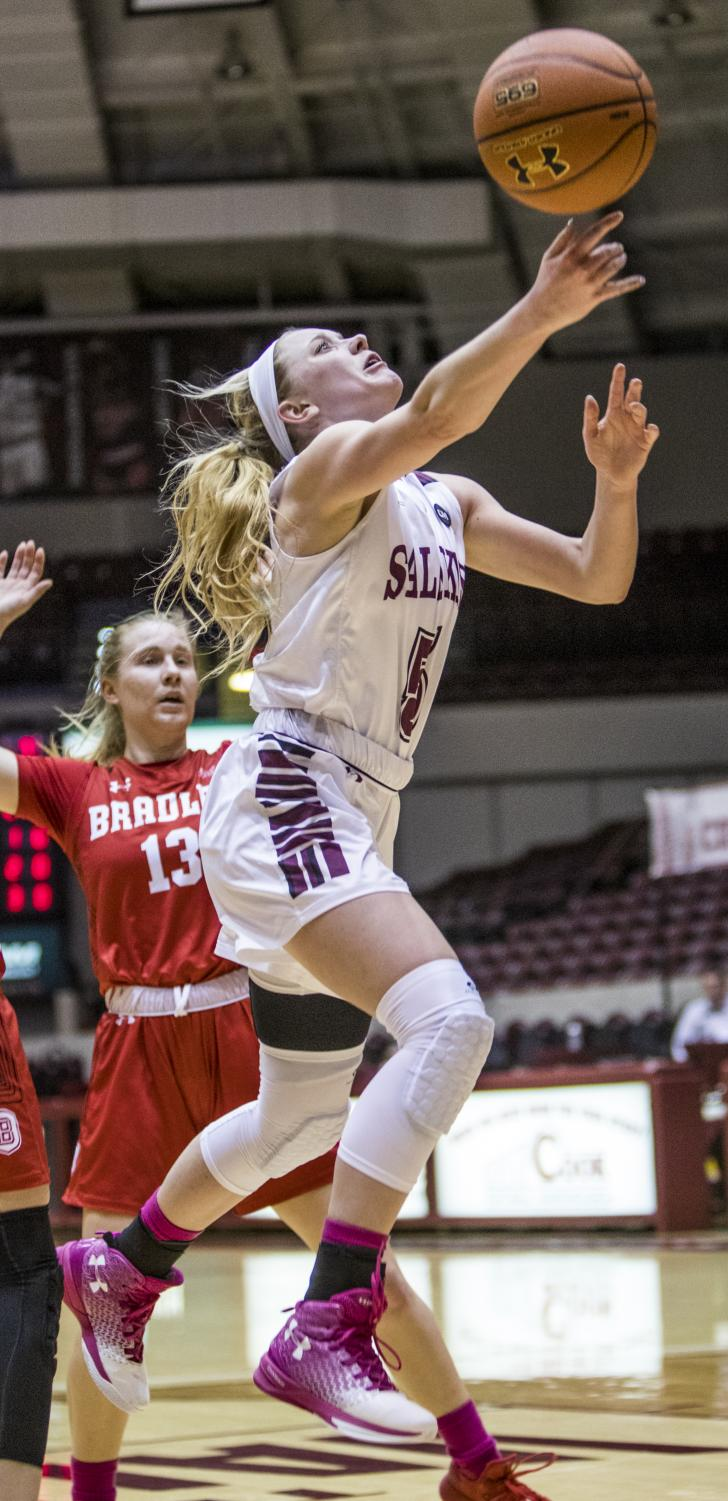Saluki+freshman+guard+Caitlin+Link+goes+up+for+a+basket+Friday%2C+Feb.+15%2C+2019%2C+during+the+Salukis%27+55-62+win+against+the+Bradley+Braves+at+SIU+Arena.