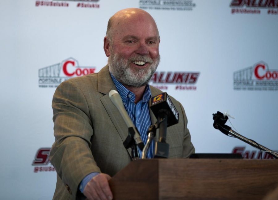 Director of Athletics Jerry Kill smiles while addressing the press on Monday, March 11, 2019 during a press conference in the SIU Arena.