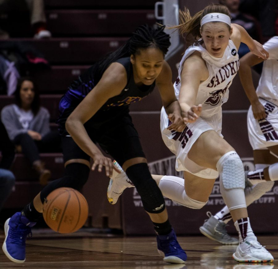 Saluki sophomore forward  Abby Brockmeyer goes for the ball on Sunday, March 3, 2019 during the Saluki's  67-71 loss to the Northern Iowa Panthers at SIU Arena.