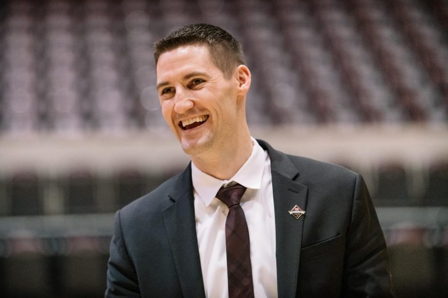 Bryan Mullins, SIU head men's basketball coach, reacts on Thursday, March 22, 2019, during a town hall introducing Mullins as Southern's fourteenth head basketball coach at SIU Arena in Carbondale, Illinois.