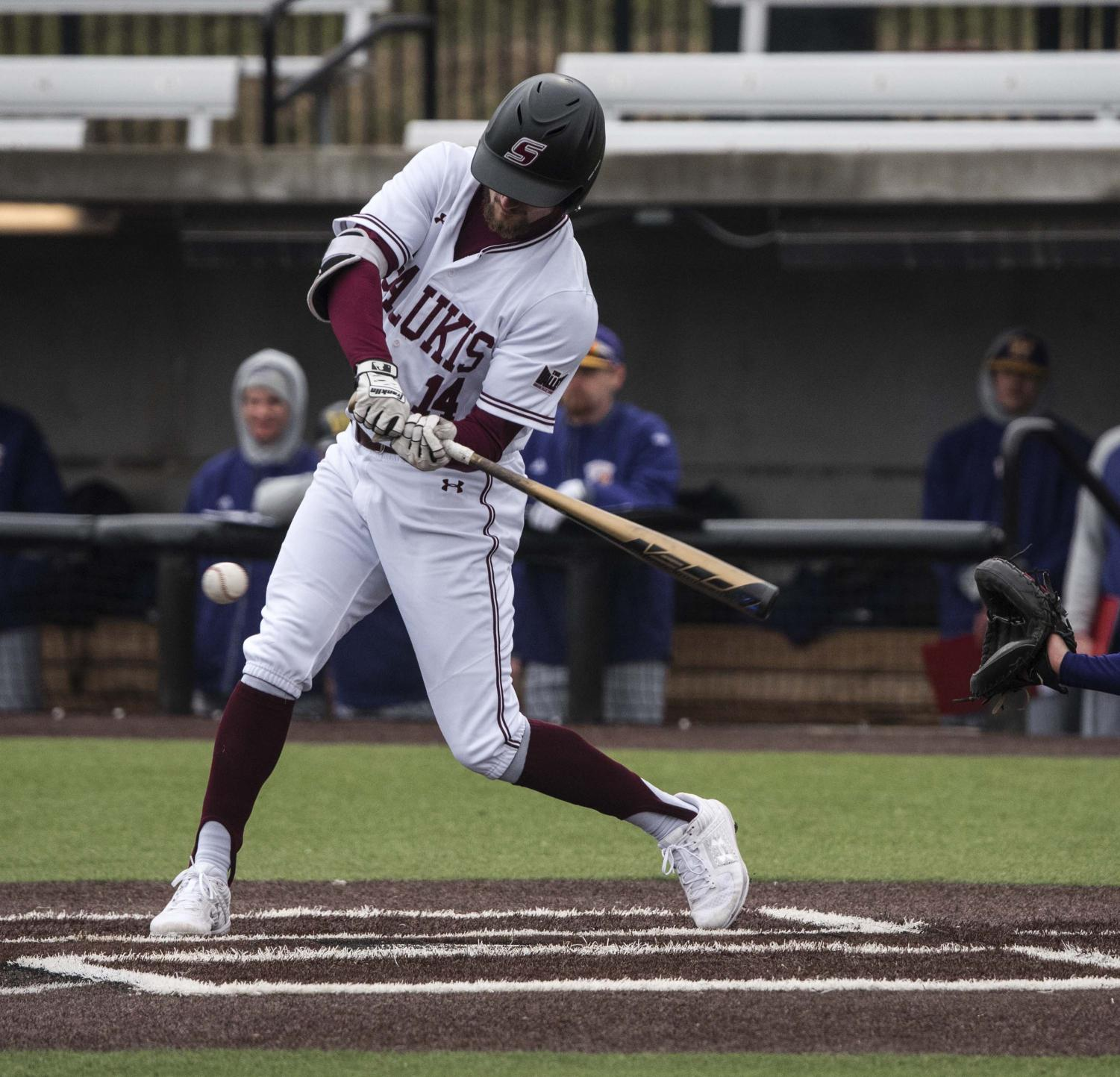 Saluki+outfielder+Addison+Fugitt+hits+the+ball+on+Friday%2C+March+1%2C+2019+during+the+Salukis%27+8-1+win+against+Western+Illinois.