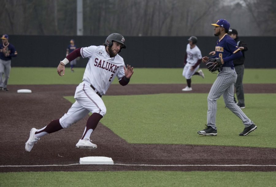 Saluki+infielder+Alex+Lyon+rounds+third+base+in+the+eighth+inning+on+Friday%2C+March+1%2C+2019+during+the+Salukis%27+8-1+win+against+Western+Illinois.