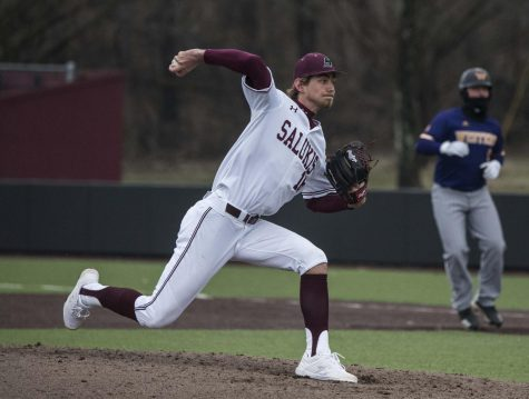Saluki pitcher Matthew Steidl pitches the ball to the Western Illinois Leathernecks in the ninth inning on Friday, March 1, 2019 during the Salukis
