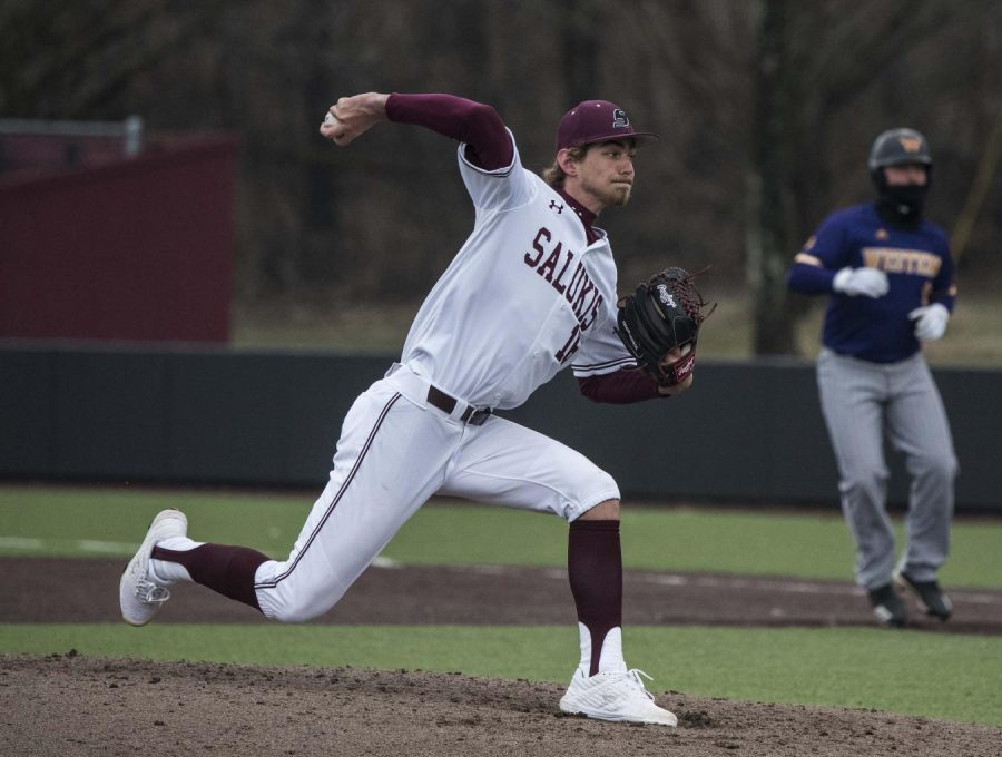 Saluki pitcher Matthew Steidl pitches the ball to the Western Illinois Leathernecks in the ninth inning on Friday, March 1, 2019 during the Salukis' 8-1 win against Western Illinois.