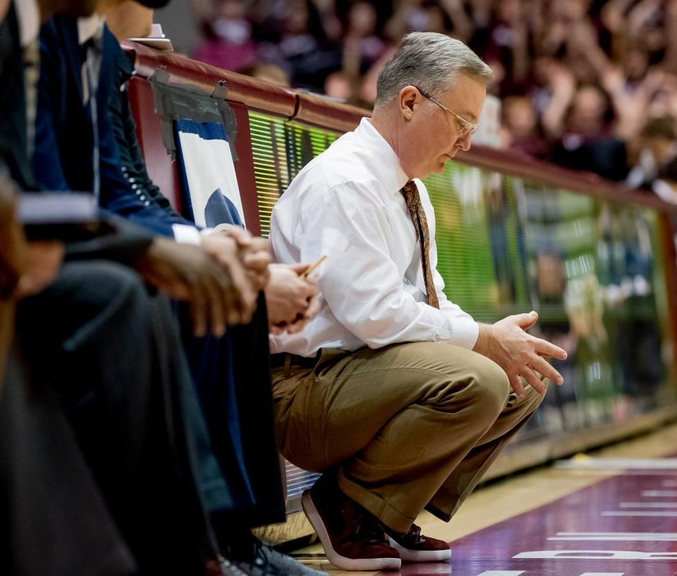 Southern Illinois Salukis head coach Barry Hinson pauses during a free throw on Saturday, March 2, 2019 during the Southern Illinois Salukis' 72-63 win over the Illinois State Redbirds at SIU Arena in Carbondale, Illinois.