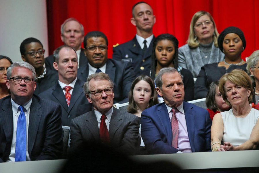 Speaker Mike Madigan and Senate President John Cullerton listen as Gov. Bruce Rauner speaks about making changes in the state on Monday Jan. 12, 2015 at the Prairie Capital Convention Center in Springfield, Ill.
