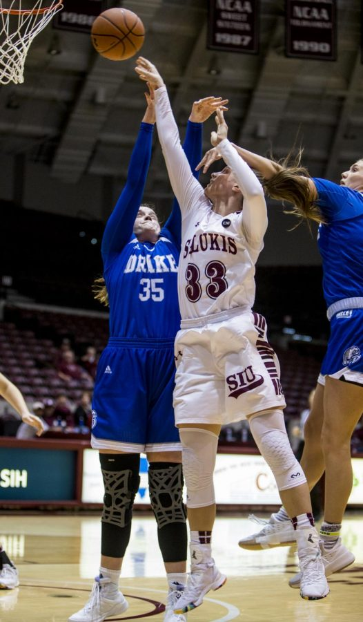Sopohmore forward Rachel Pudlowski goes up for a basket on Friday, March 1, 2019, during the Salukis' 64-71 loss to the Drake Bulldogs in the SIU Arena.
