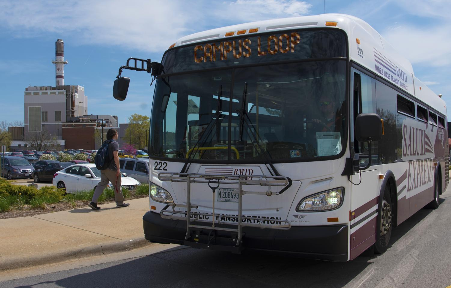 The Campus Loop bus departs from its bus stop on Wednesday, April, 2019, in front of SIU's Student Center.