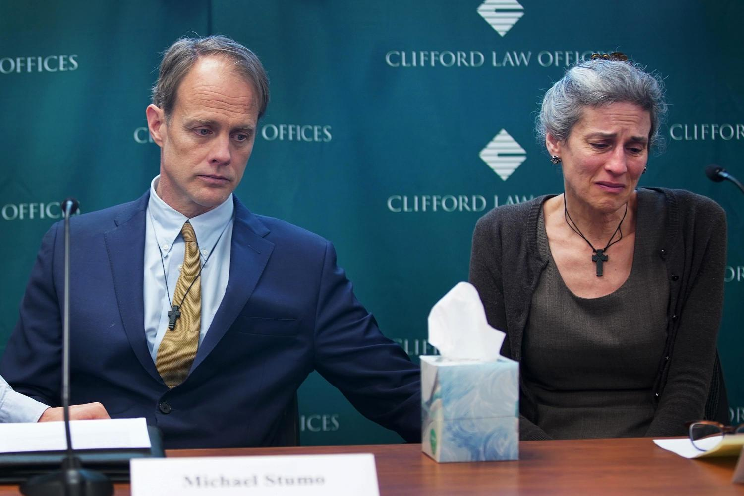 Michael Stumo and Nadia Milleron, the parents of Samya Stumo, who was killed in the crash of Ethiopian Airlines Flight 302, attend a press conference on April 04, 2019 in Chicago, Ill.