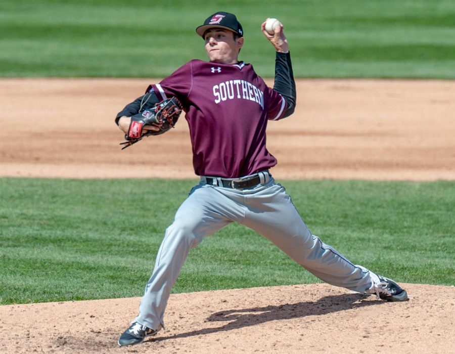 Pitcher Blake Begner. Photograph courtesy of SIU Athletics.