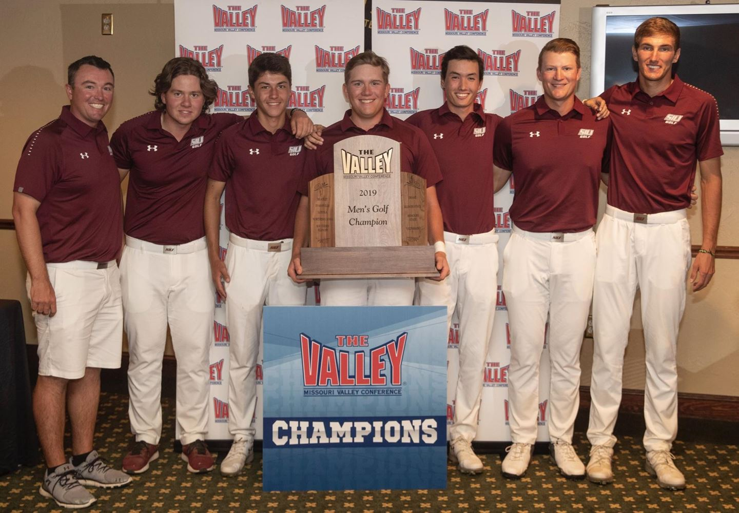 The SIU Men's Golf Team poses for a portrait on Tuesday, April 23, 2019, after winning the 2019 Missouri Valley Conference.