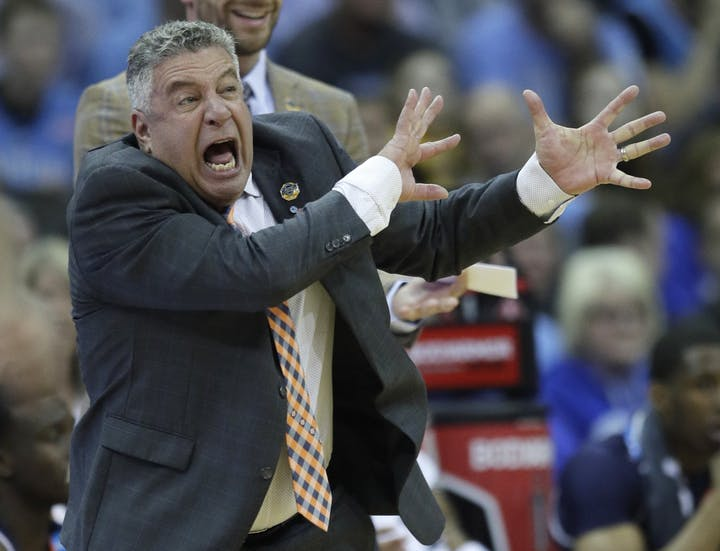 Auburn+head+coach+Bruce+Pearl+yells+from+the+sidelines+during+the+region+semifinal+game+vs.+North+Carolina
