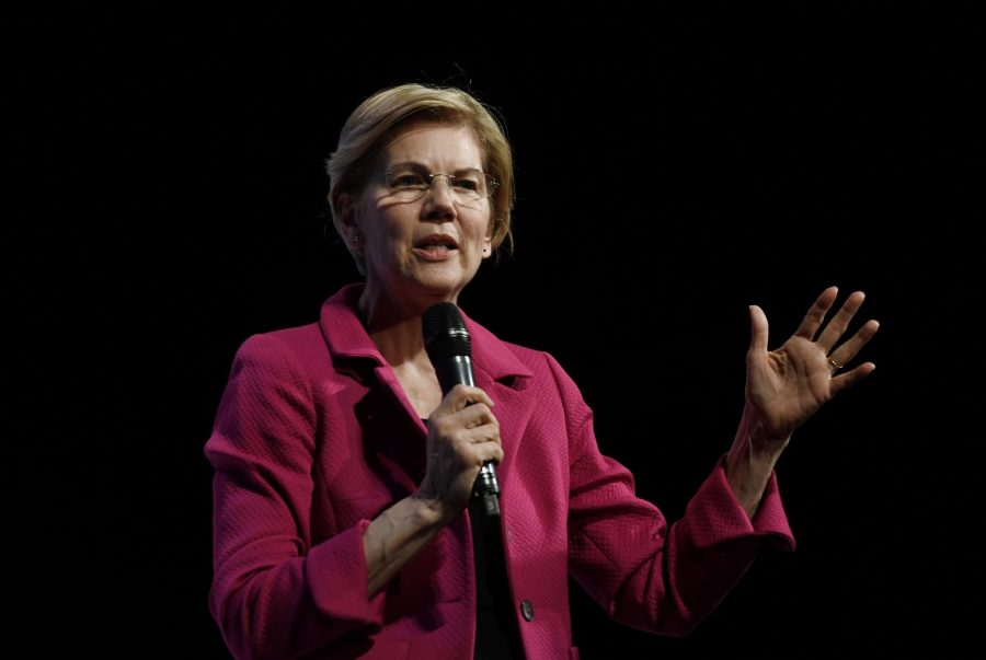 2020+Democratic+presidential+candidate+Elizabeth+Warren+speaks+at+the+%222019+We+The+People+Membership+Forum%22+April+1%2C+2019+in+Washington%2C+DC.+