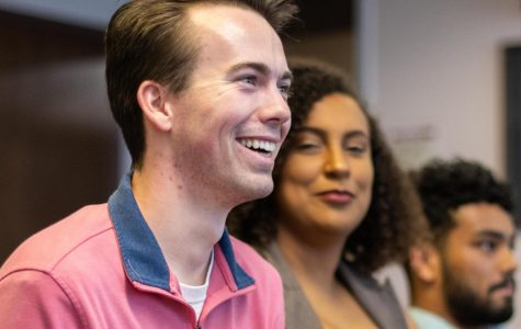Colton Newlin smiles after winning the election for USG president on April 10, 2019 inside the Student Center.