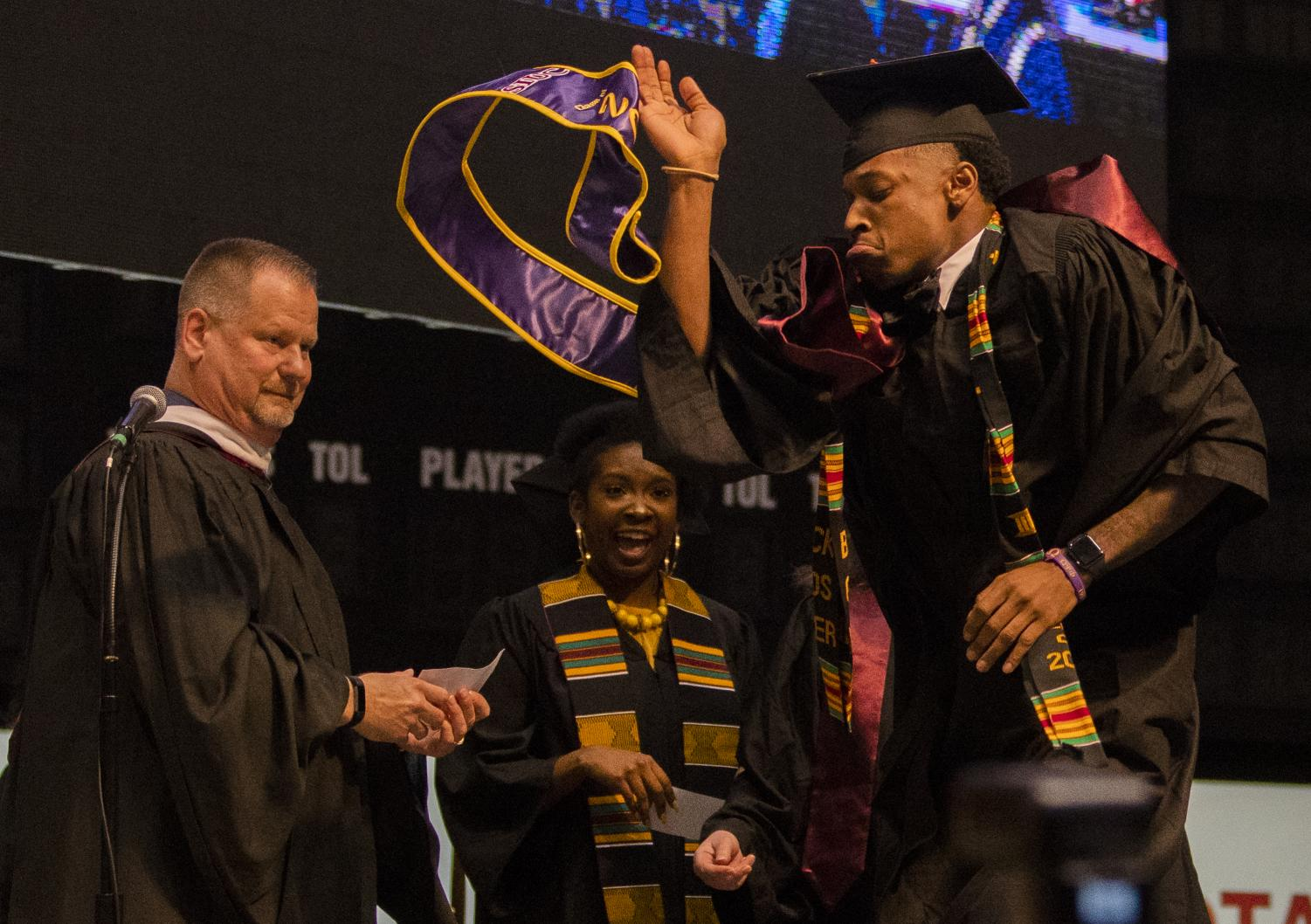Antrell+Williams+dances+before+receiving+his+diploma+on+Saturday%2C+May+11%2C+2019+during+the+2019+commencement+inside+the+SIU+Arena.+Williams+graduated+with+a+bachelors+in+health+care+management.