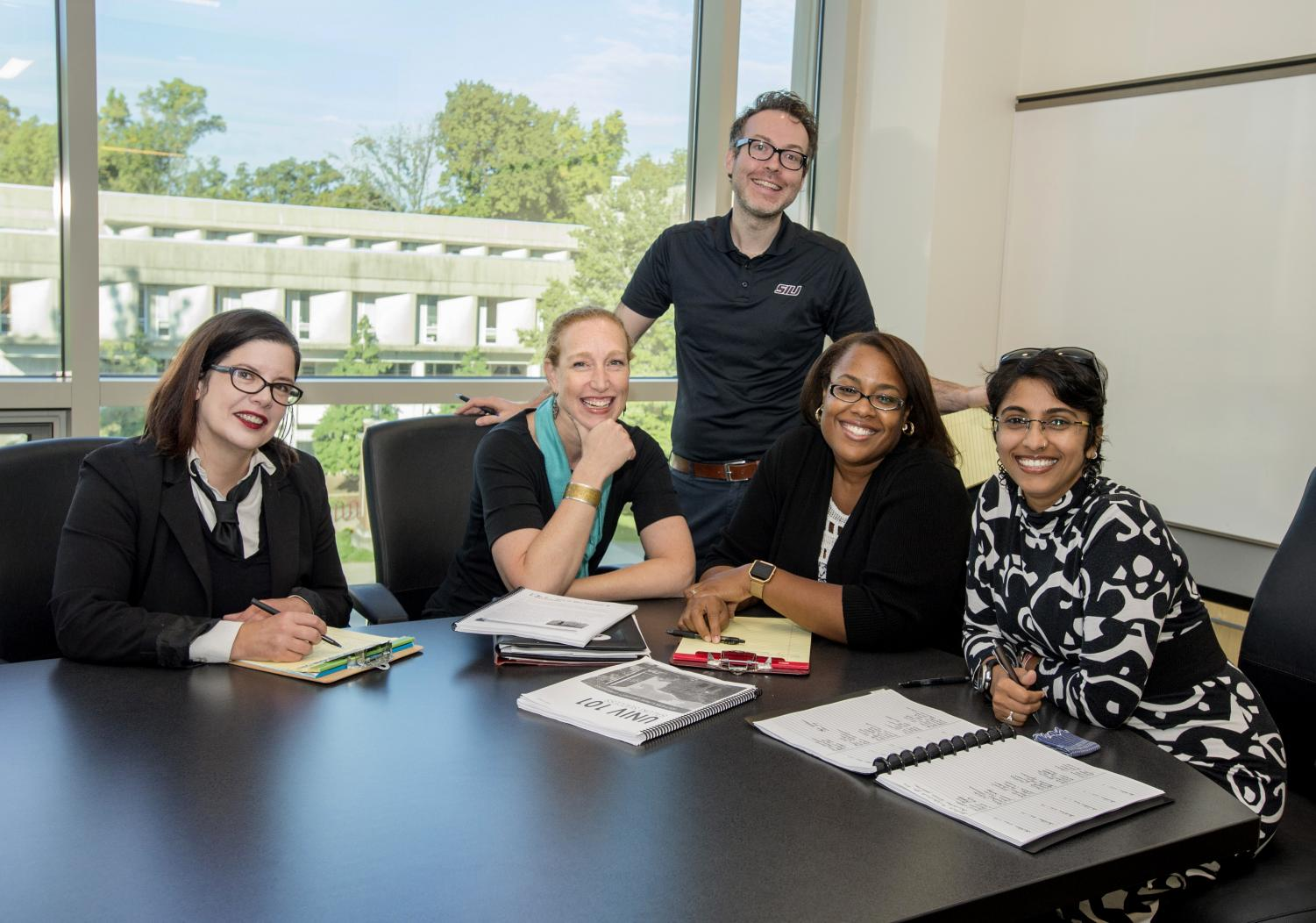 From left: Saluki Success Program staff Abigail Wheetley. Laura Borger, Nick Weschinskey, Casheena Stephens and Gauri Pitale