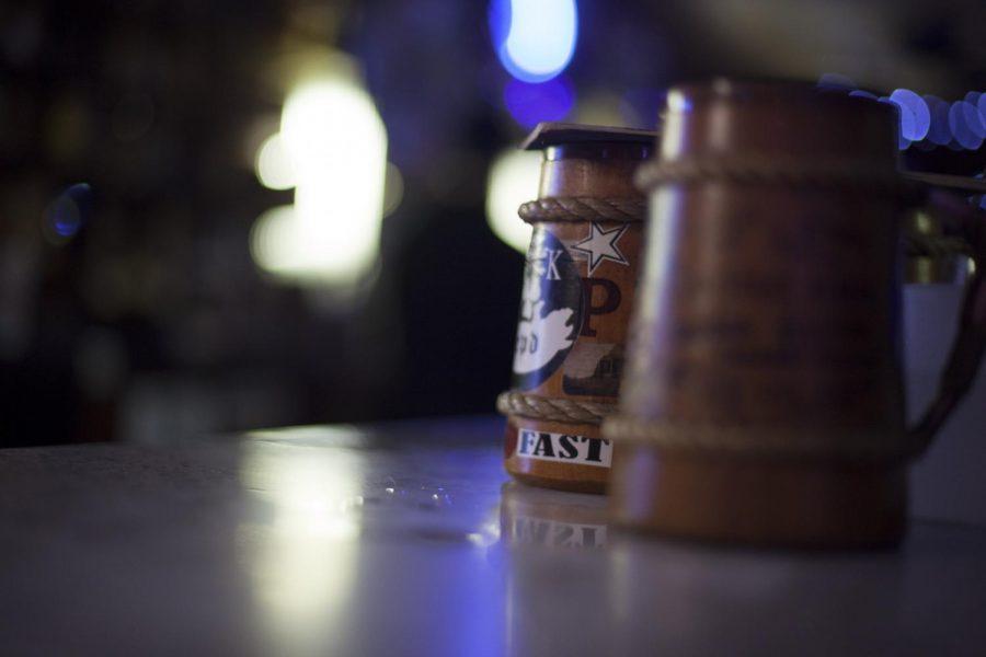 Mugs rest on the bar on April 15, 2018 inside PK's.