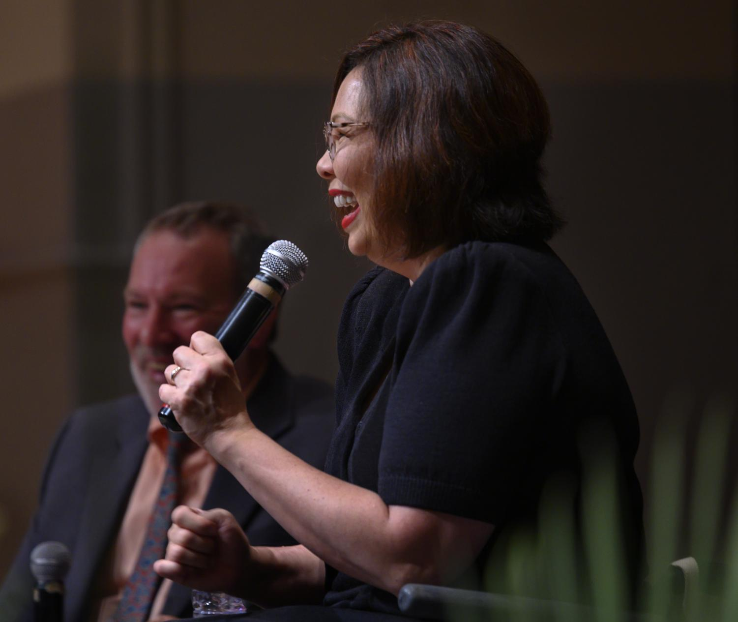 Senator Tammy Duckworth reacts with the community members on Friday, July 12, 2019 inside the SIU Student Center.
