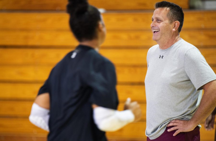 Southern Illinois Women's Volleyball Head Coach Ed Allen reacts during practice on Monday, Aug. 20th, 2019 inside Davies Gym.