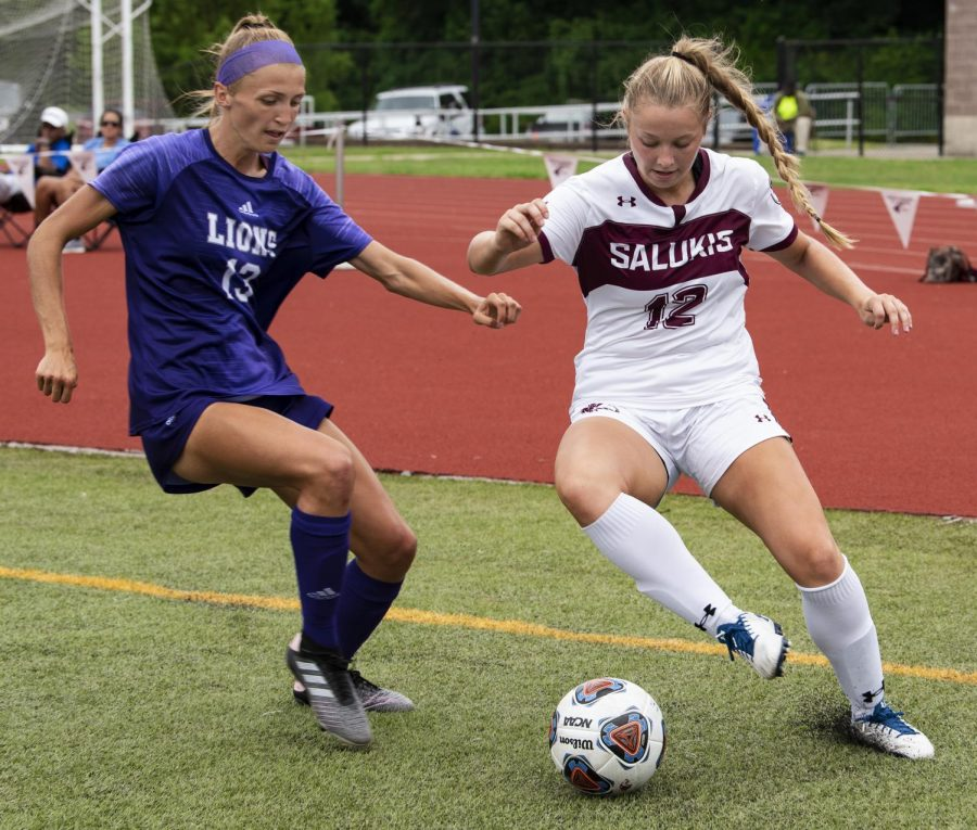 Madison+Meiring%2C+of+Martinsville%2C+Ind.%2C+protects+the+ball+from+a+defender+on+Sunday%2C+Aug.+25%2C+2019%2C+at+the+SIU+vs.+North+Alabama+soccer+game+in+Carbondale.+