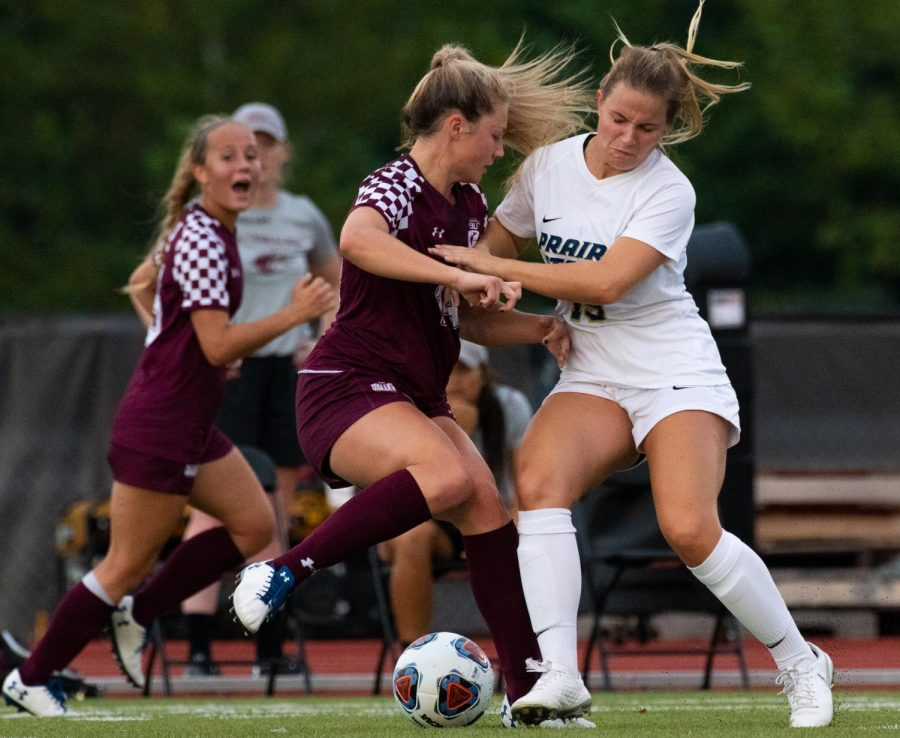 Saluki Kaitlin DuCharme attempts to steal the ball on Saturday, Aug. 23, 2019 during the Salukis' 2-0 win against the University of Illinois-Springfield Prairie Stars at the Lew Hartzog Track & Field Complex.