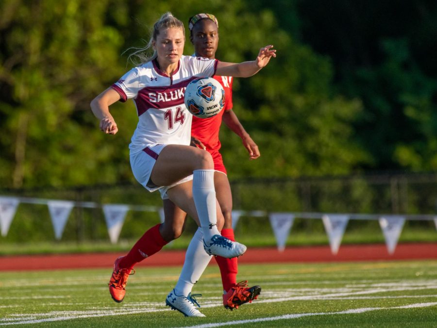Saluki freshman Kaitlin DuCharme defends the ball on Tuesday, Aug. 27, 2019 during the Salukis' 1-0 win against the Rose-Hulman Fightin' Engineers at the Lew Hartzog Track & Field Complex.