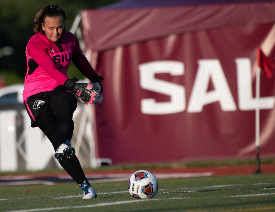Saluki freshman Dariana Mihalache kicks the ball on Tuesday, Aug. 27, 2019 during the Salukis' 1-0 win against the Rose-Hulman Fightin' Engineers at the Lew Hartzog Track & Field Complex.