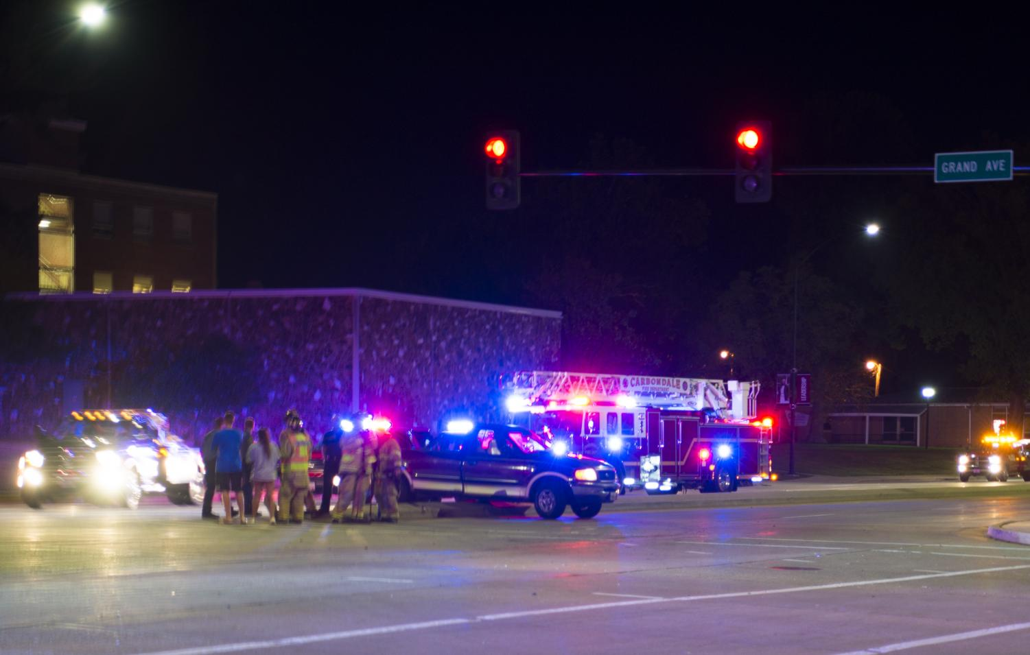 Two-vehicle accident blocks intersection at Grand and S